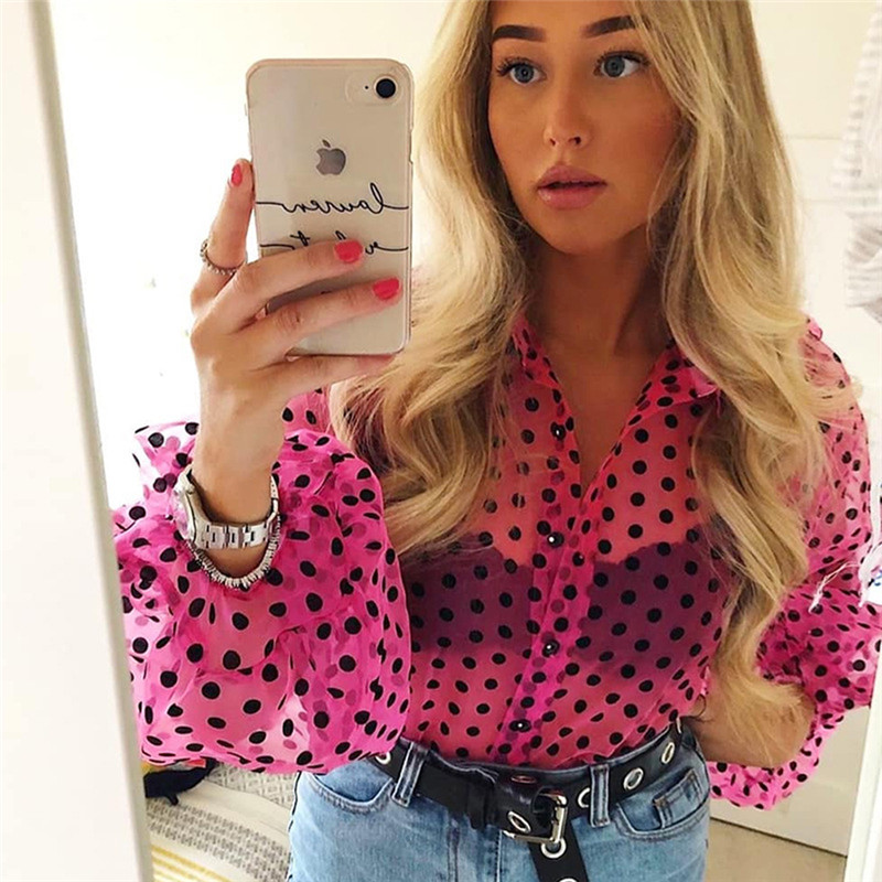 New Elegant Fashion Women OL Casual Shirt Blouse Perspective Sheer Mesh Lantern Long Sleeve Polka Dot Button Tops Beach Blusas