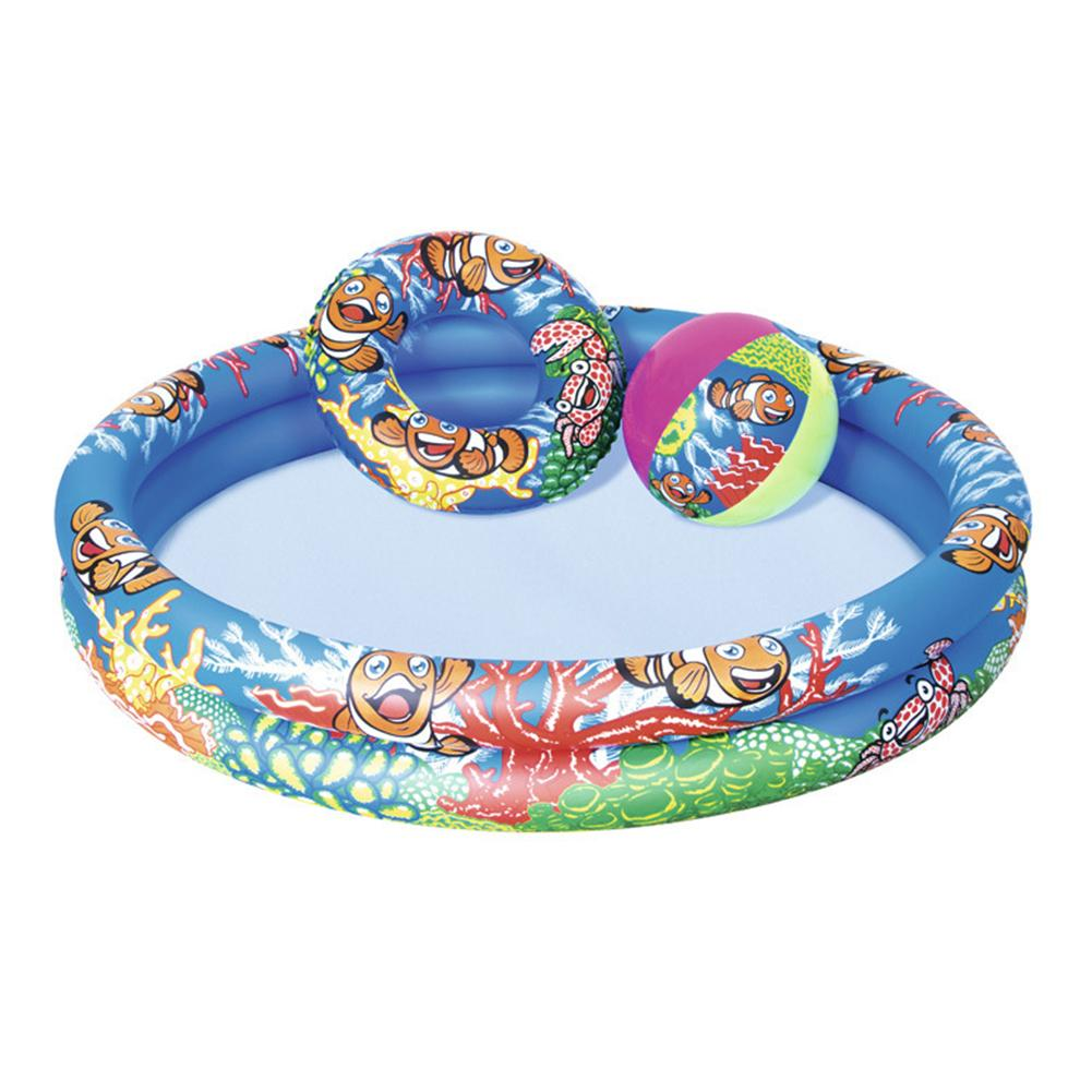 Children's Pool Toy Set Summer Inflatable Swimming Pool Swimming Ring Beach Ball 3Pcs For Family