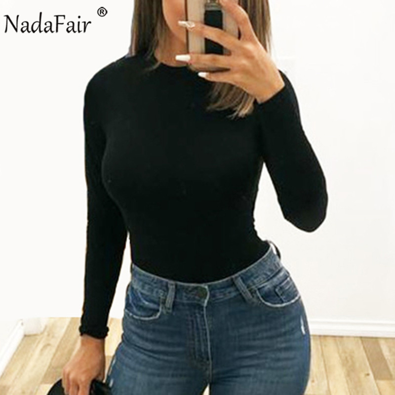 Nadafair Solid Bodycon Sexy Bodysuit Woman Body Tops 2020 Autumn Winter Skinny Casual White Black Long Sleeve Body Suit Female