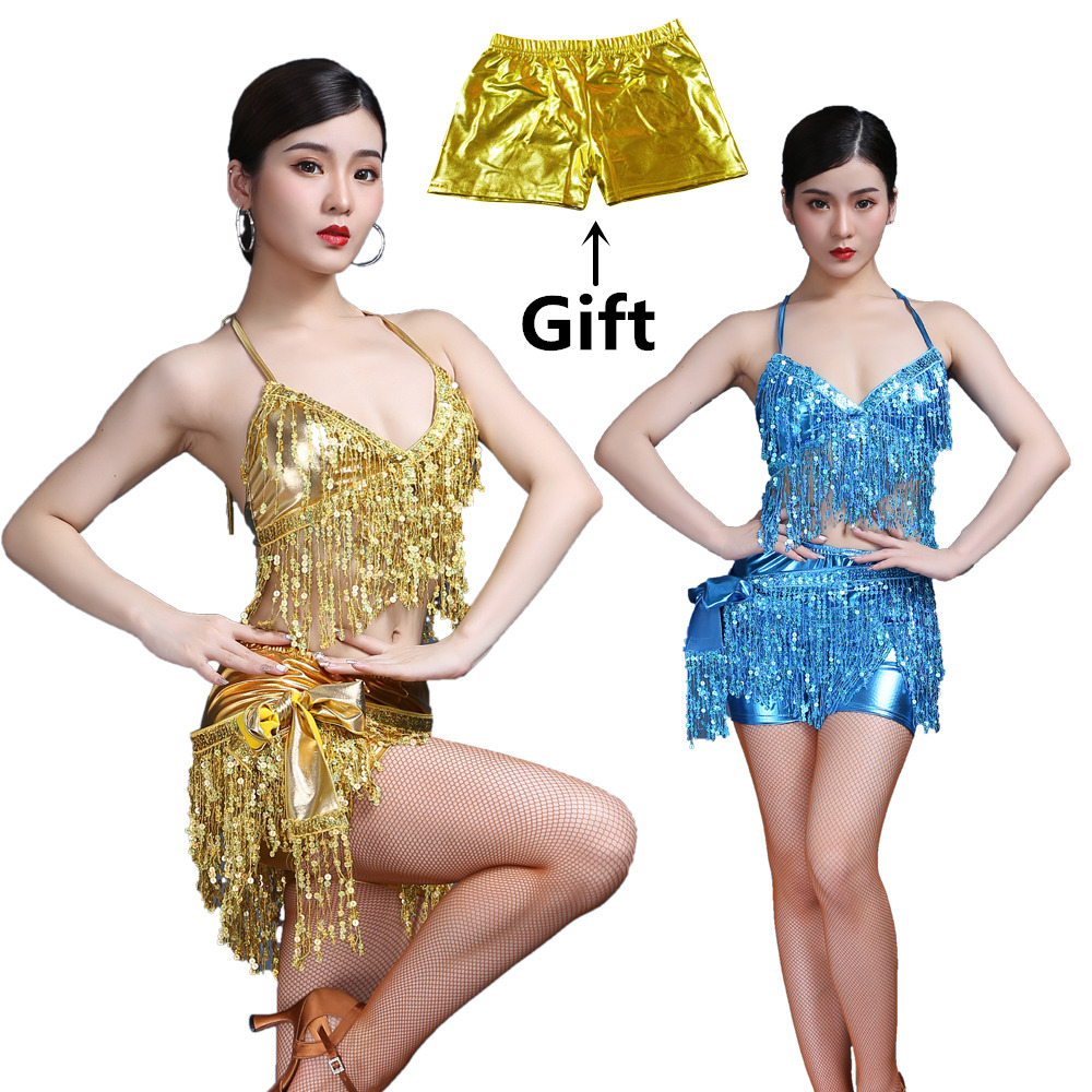 Belly Dance Latin Sequin Halter Top Bra Belt Hip Skirt Set Sexy Party Costume Tassel Temptation Stage Performance Sets 7 Colors