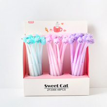 48pcs/set Small Sweet Cat Neutral Pen Silica Animal Modeling Student Cute Stationery Wholesale Factory