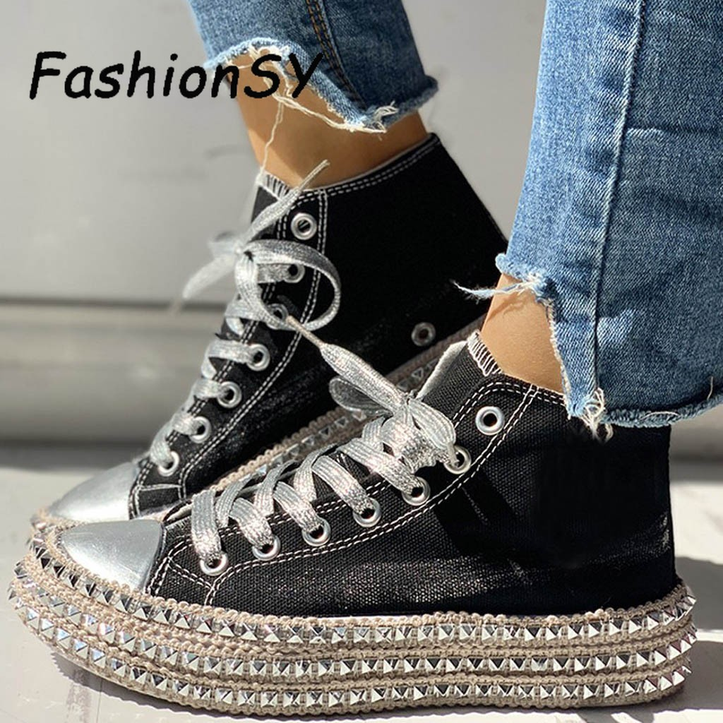 Casual womens shoes flats 2019 woman Lace Up High Top Shoes Female Leopard Hemp Rope Thick Bottom Canvas Shoes woman