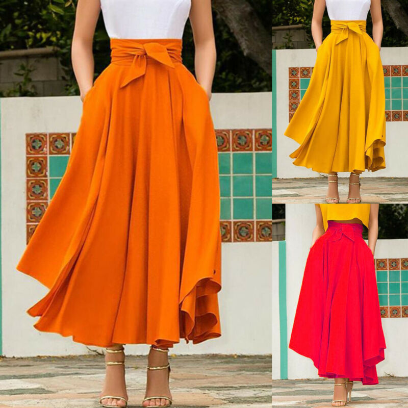 Boho Women's Vintage Pleated Long Maxi Skirt High Waist Evening Party A Line Skirt Stretch Full Length Casual Skirts Plus Size
