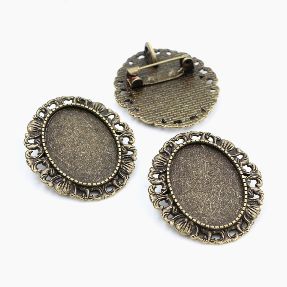 3pcs 18x25mm Inner Size Antique Bronze Brooch Pin Classic Style Cameo Cabochon Base Setting  (C3-26)