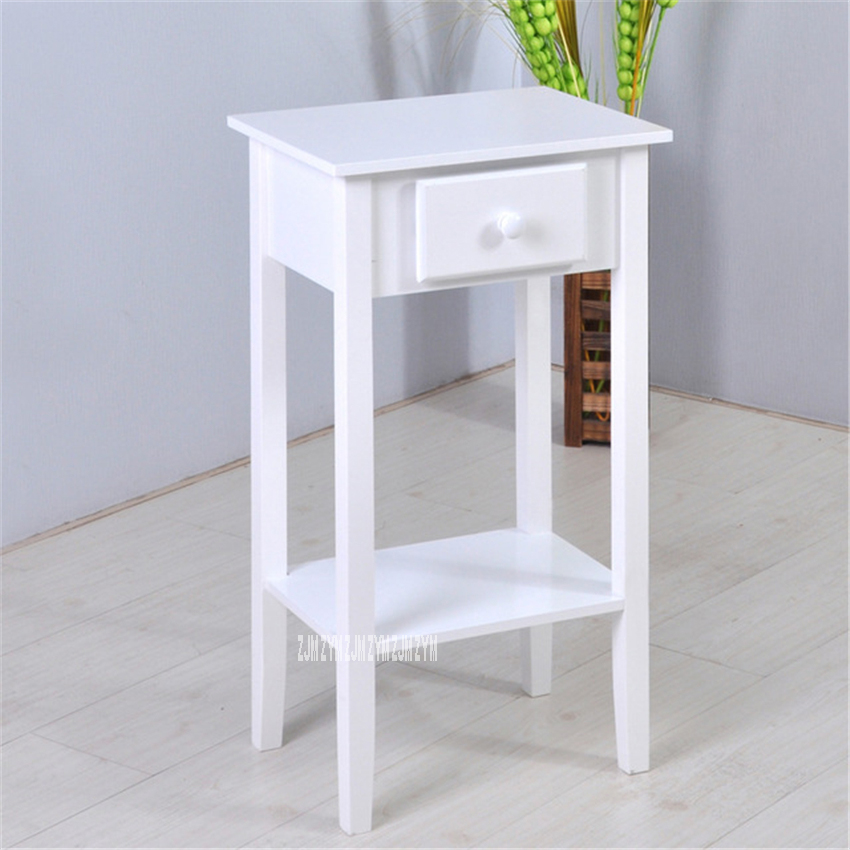 BS061WH Fashion Double Layer Wood Tea Table Sofa side Table Creative Dresser Small Storage Square Table Modern Simple Nightstand
