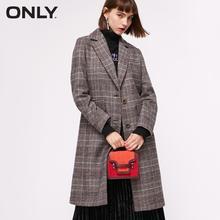 Только женское осеннее клетчатое шерстяное пальто выше колена   11834S508