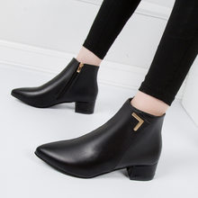 Fashion Women Boots Casual Leather Low High Heels Spring Shoes Woman Pointed Toe Rubber Ankle Boots Black Red Zapatos Mujer(China)
