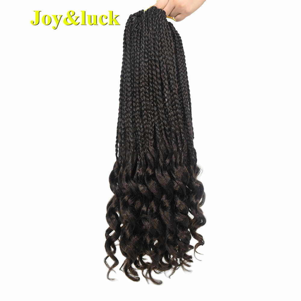Joy&luck Hair for Braiding Box Braids Curly Ends Synthetic Crochet Braids Hair Extensions 18inch 22roots