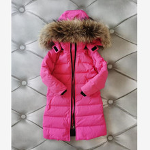 -30℃ Russian Winter Children's Down Jacket Thicker Warm Real Fur Collar Coat Teenage Parka Fashion Hooded Jacket For Girls Y3604