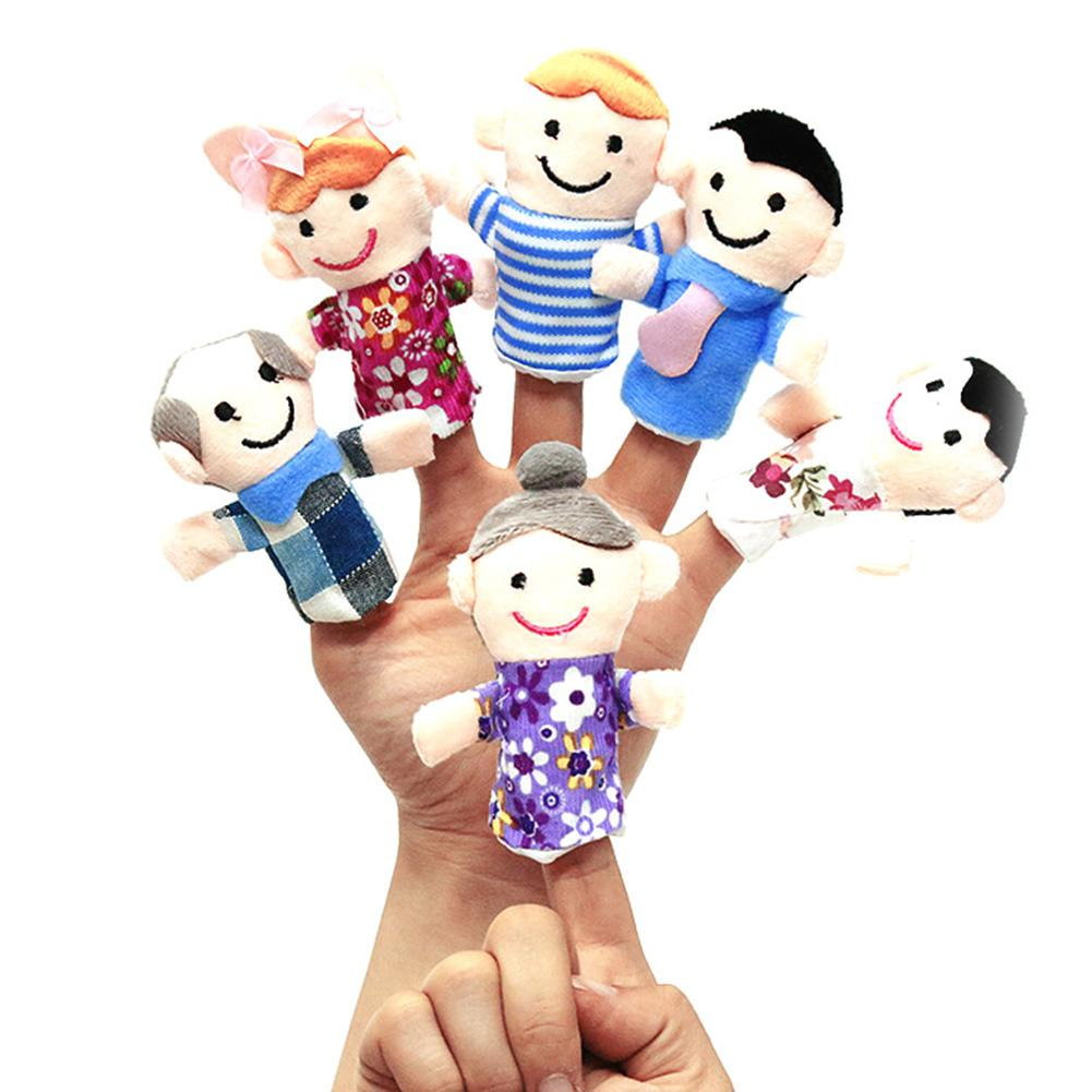 6Pcs/Set One Family Plush Finger Puppet Educational Hand Toy Story Telling Props