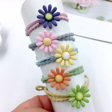 1pc Cute Daisy Girl Ponytail Hair Holder Hair Accessories Thin Elastic Rubber Band For Kids Green Hair Ties Hair Accessories(China)