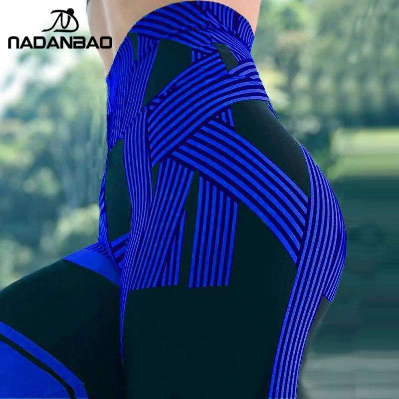NADANBAO Fashion Stripe Leggings For Women Fitness Pants 3D Printing Push Up Sporting Leggins Slim Workout Legins 2019