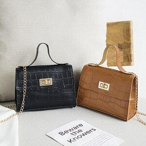 PU Fashion Women Bags 2020 Summer New Crocodile Pattern Handbag Shoulder Messenger Chain Lock Small Square Bag Wholesale