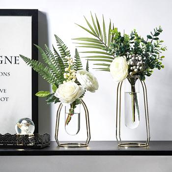 Dekoracja nordycka dom styl skandynawski dom roślina złoto-szkło platerowane wazon do kreatywnej dekoracji wazony do domu metalowy wazon probówki tanie i dobre opinie BOMAROLAN Nowoczesne Blat wazon Golden Fake flower