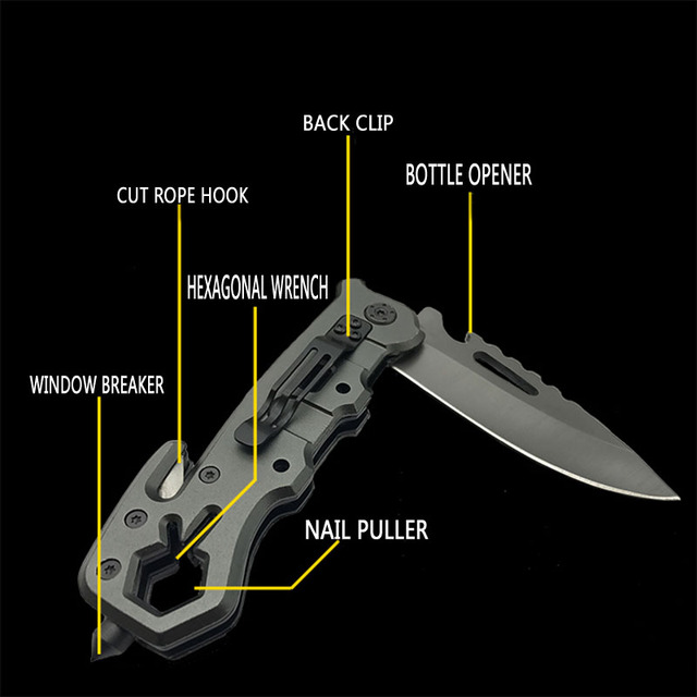 Titanium Ion Multi-function Folding Knife Outdoor Camping Hunting Rescue Window Breaker High Hardness Tactical Folding Knife 6