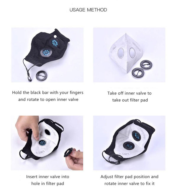 Double Breath Valve Face Mask Respirator Activated Carbon Filter Anti Haze/dust/Pollution Bacterial Flu pm2.5 mouth mask 3