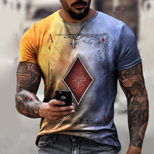 2021 Men Playing Cards Diamond Square Print T-shirt Men's Summer Casual Short Sleeve Pullover Round Neck Loose Tops