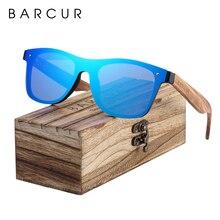BARCUR Phân Cực Đen Óc Chó GỖ Kính Mát Nam Vuông Nữ Kính Chống Nắng UV400 Oculos Gafas Oculos de Sol Masculino