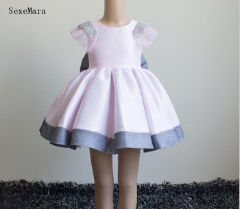 100% real picture baby girl birthday party dress pink puffy gown with bow knee length little princess gown