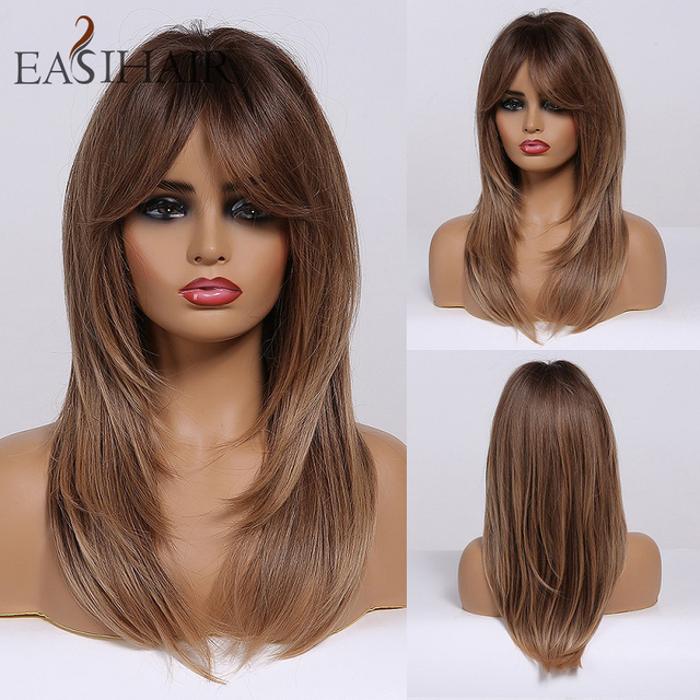 EASIHAIR Black to Brown Ombre Wigs with Bangs Synthetic Wigs Women Medium Length Layered Natural Hair Wig Cosplay Heat Resistant