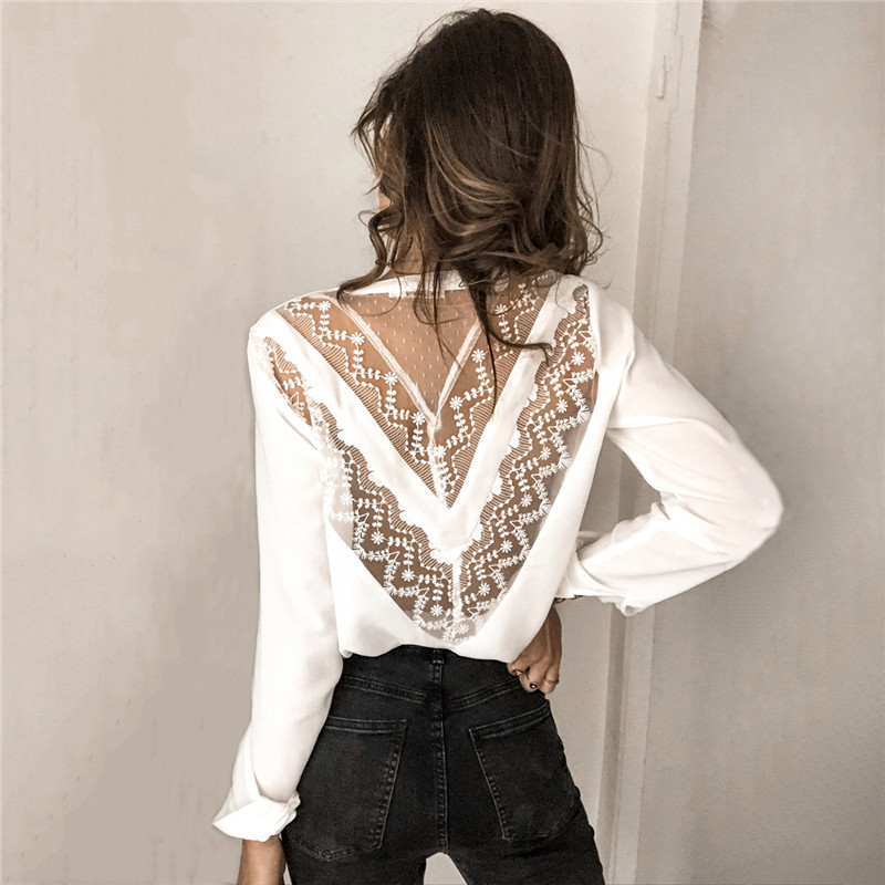 Womens Tops And Blouses Elegant Long Sleeve V Neck OL Lace Shirt Ladies Office Lady Backless Chemise Femme Blusa Feminina