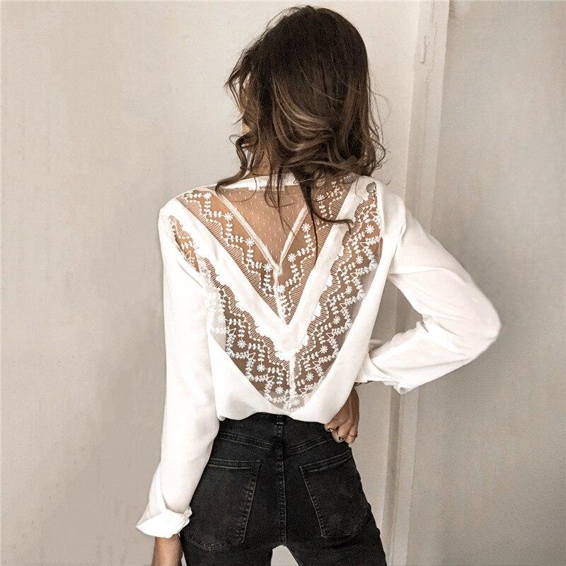 Womens Tops And Blouses Elegant Long Sleeve V Neck OL Lace Shirt Ladies Office Lady Backless Chemise Femme Blusa Feminina