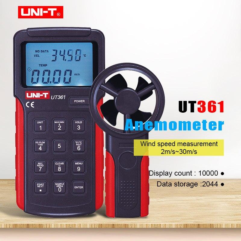 UNI-T UT361 anémomètre données tenir compteur de vitesse du vent tachymètre numérique LCD rétro-éclairage débitmètre d'air mesure de la température avec stockage de données