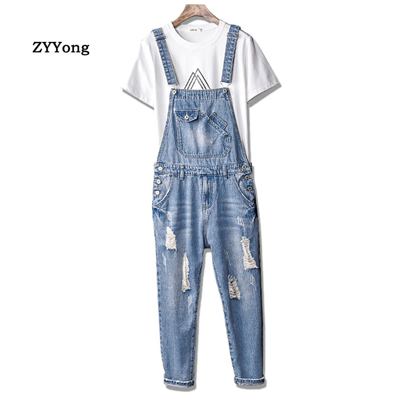 Fahsion Man Ripped Jeans Bib Overalls Ankle Length Hip Hop Hole Denim Jumpsuits Homme Trousers Leisure Freight Pants
