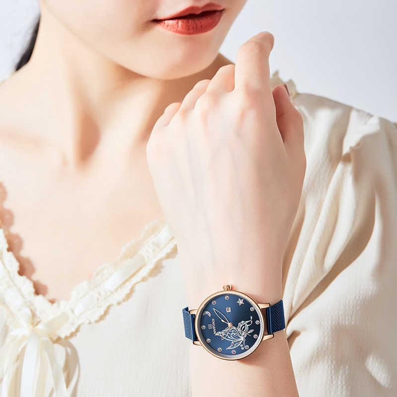 NAVIFORCE montres femmes mode cristal dames montre étanche Quartz femme montre-bracelet en acier maille bracelet Relogio Feminino