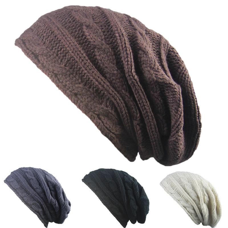 Long Solid Knitting Hat Beanie Warm Wool Gorro Hemp Flowers Winter Hats For Men And Women Leisure Hip Hop Trend Couples Hats