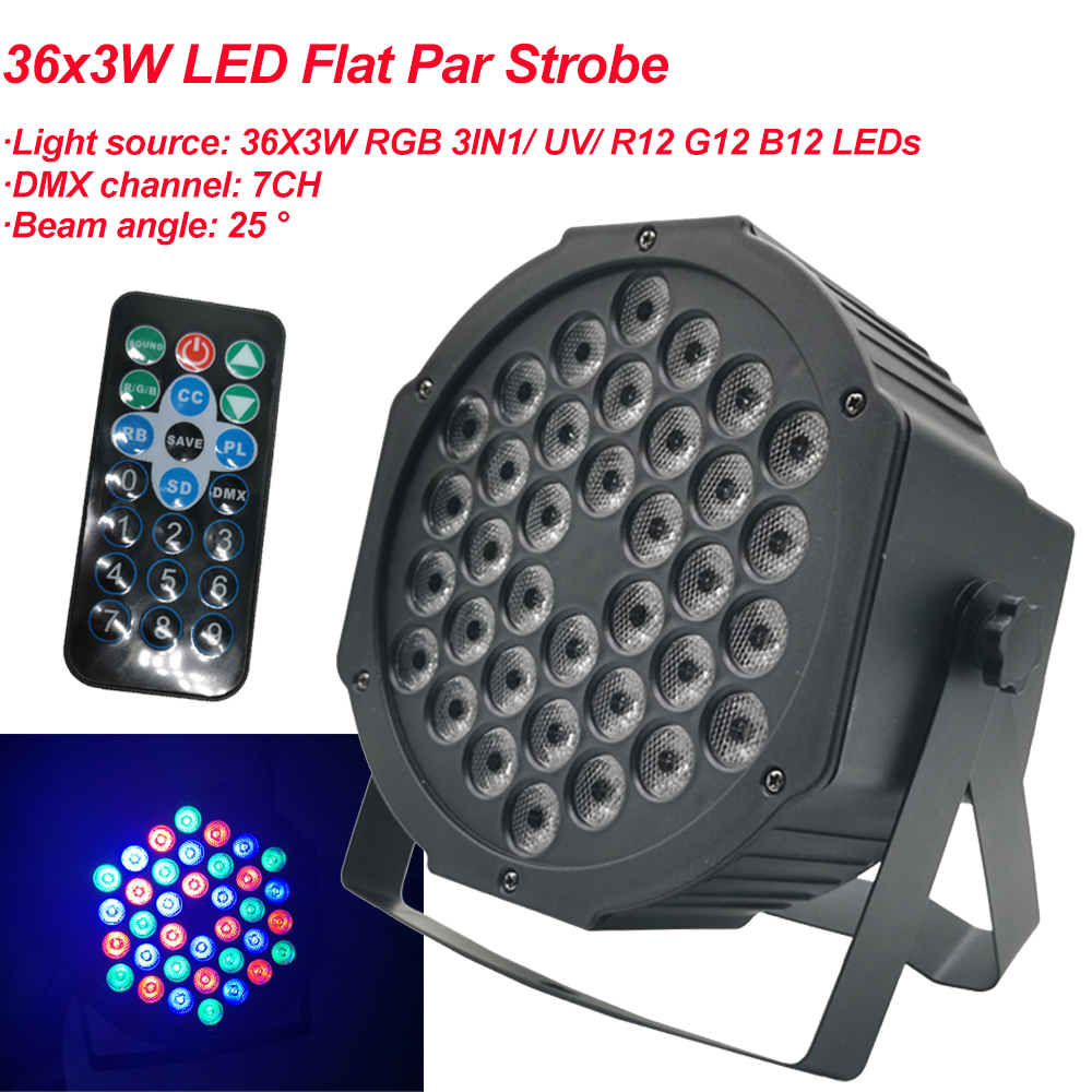 2020 New LED Flat Par 36x3W RGB Color Lighting Strobe DMX For Atmosphere Of Disco DJ Music Party Club Dance Floor BAR Darkening