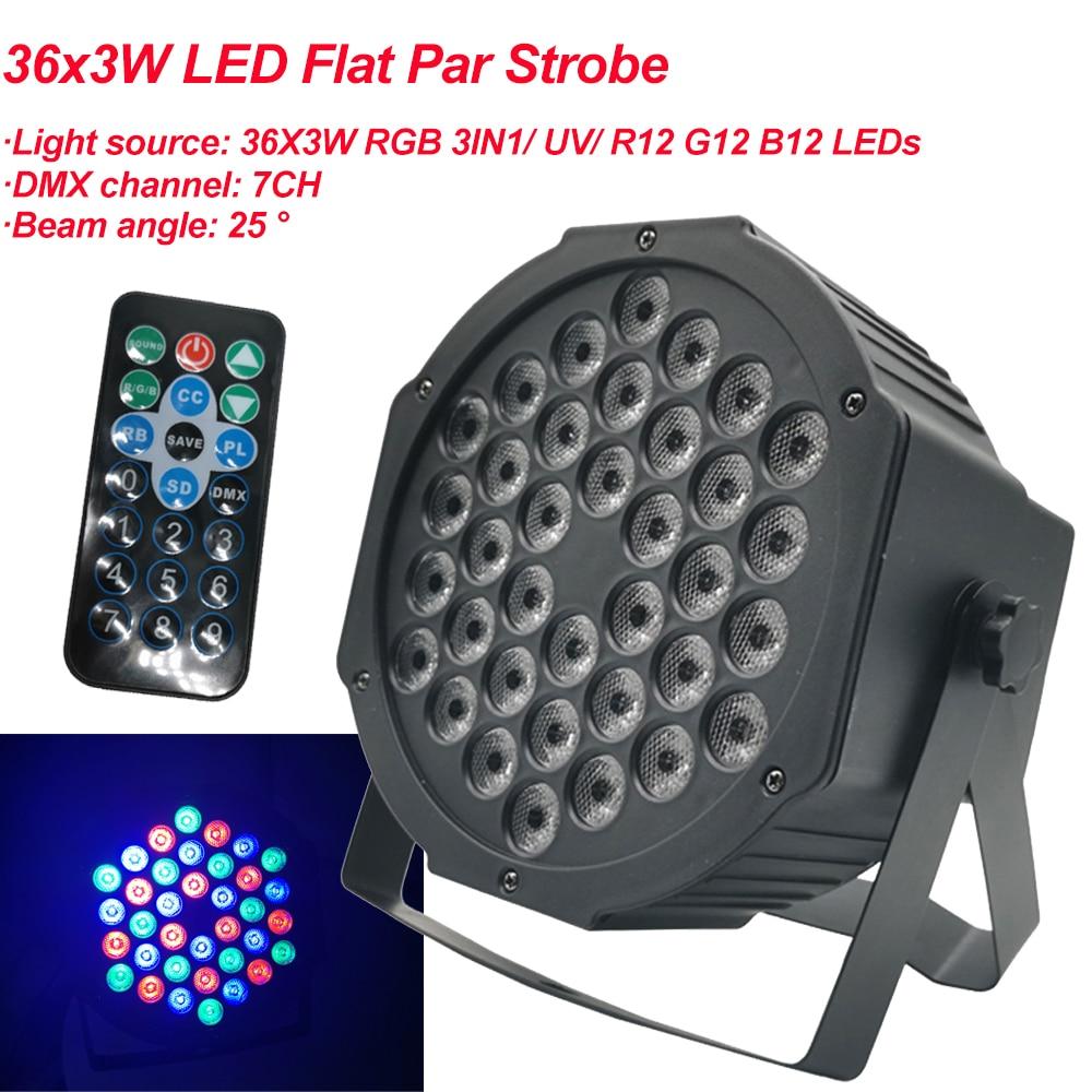 2020 Новый светодиодный плоский Par 36x3W RGB цветовое освещение стробоскоп DMX для атмосферы диско DJ музыка вечерние клуб танцпол бар затемнение