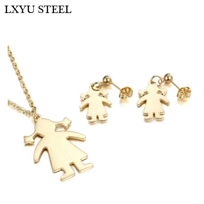 316L Stainless Steel Girl Pendant Necklace+Drop Earrings Set Cute Stainless Steel Kid Jewelry Children's Day Gift