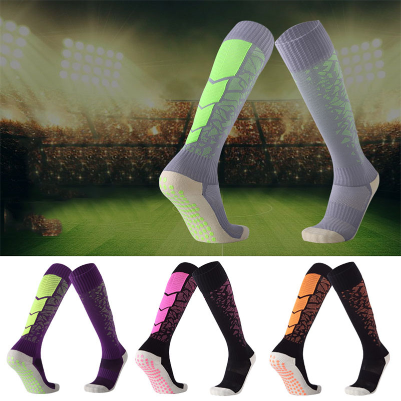 1Pair Mens Unisex Non-Slip Sports Socks Knee Legging Stockings Soccer Football Over Knee Ankle Compression Long Sweat-absorbent