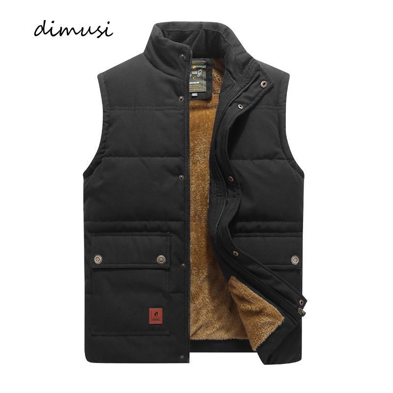 DIMUSI Winter Men Vest Fleece Thick Warm Waistcoat Outwear Casual Thermal Soft Vests Men Windbreaker Sleeveless Jackets Clothing