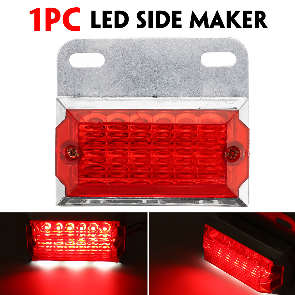 24V 15 LED Side Marker Lights Car External Lights Squarde Warning Tail Light Signal Lamps Auto Trailer Truck Lorry Red