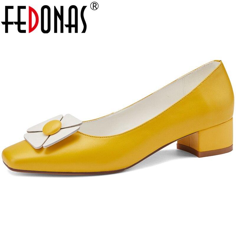 FEDONAS zapatos hechos a mano de cuero genuino de moda dulce para mujeres verano otoño tacones altos gruesos zapatos de mujer fiesta de boda ZUECO ARMONIAS TACÓN TRACK