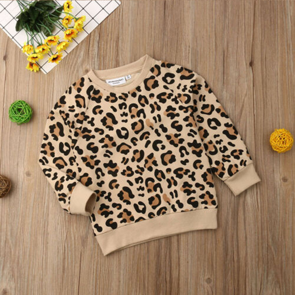 Kids Baby Girl Boy Leopard Print Long Sleeve Tops Coat Sweatshirts Clothes