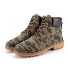 Camouflage Men's Boots Pu Leahter Ankle Boots Motorcyle Man