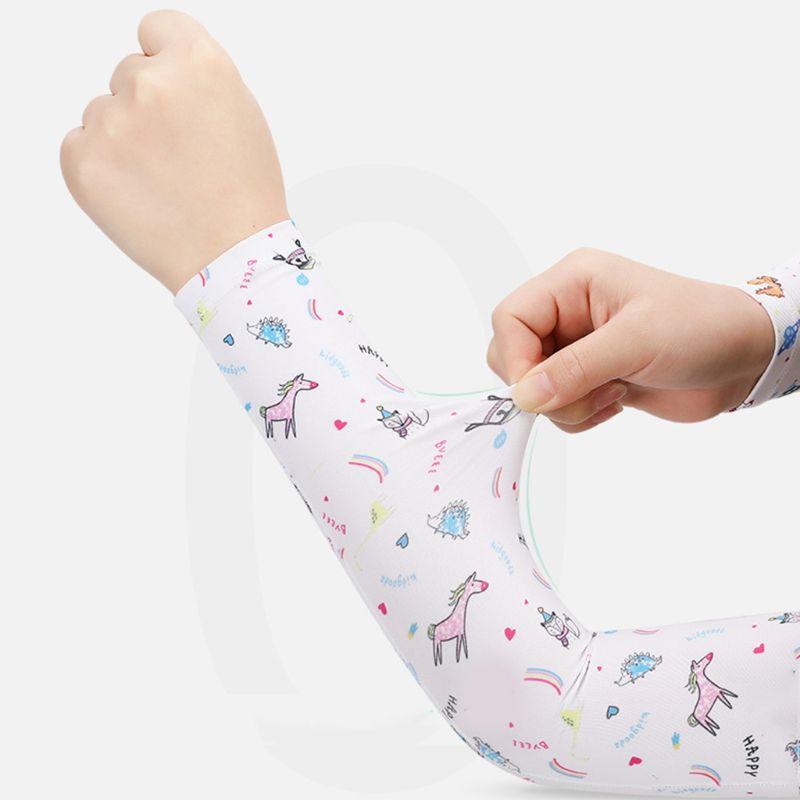 Kids Summer UV Protection Cooling Arm Sleeves Cover Cartoon Rainbow Dinosaur Print Running Ice Silk Sunscreen Shield