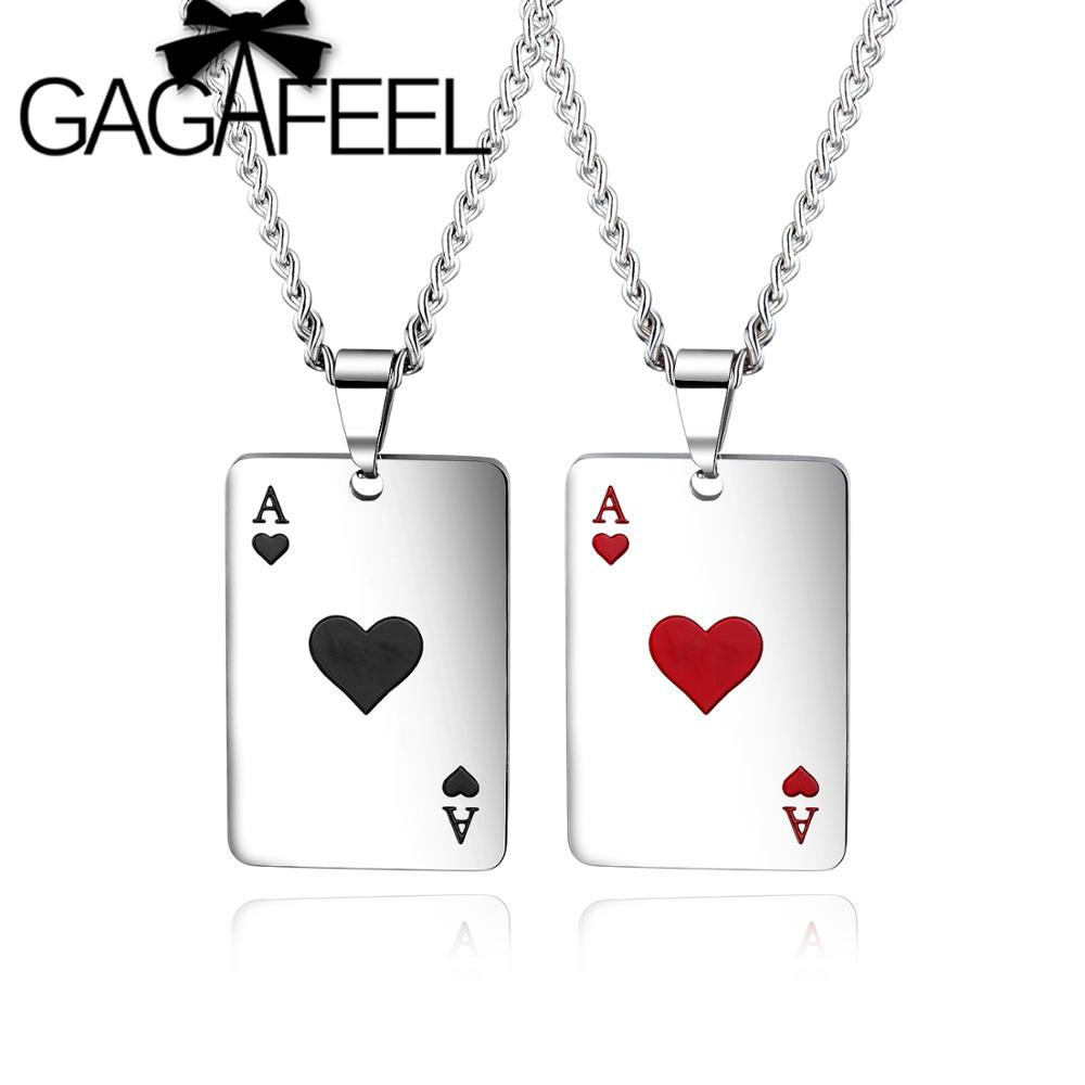 GAGAFEEL Fashion Hip Hop Necklace European and American Men Women Necklaces Personality Playing Card Pendant Couple Jewelry