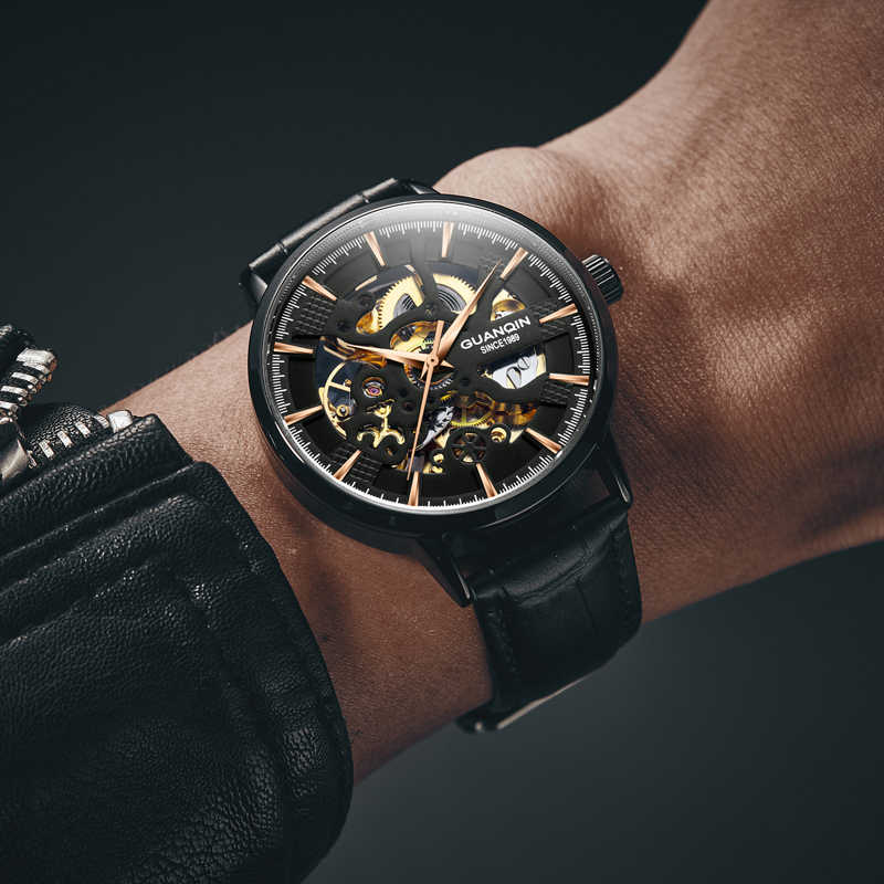 Guanqin עסקי אוטומטי שעון גברים מכאני שלד תנועת שעון יוקרה למעלה מותג שעון עמיד למים relogio masculino