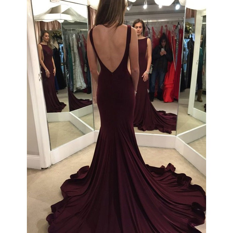Evening Dress Mermaid Sexy Backless Long Burgundy For Women Prom Dress Evening Gowns For Party