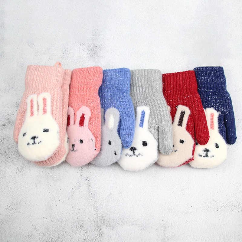 YAAY Guantes de invierno para beb/é guantes de punto c/álidos lindos ni/ños 3//4//5//6 pares edades 1-5 guantes de dedo completo contraste de rayas