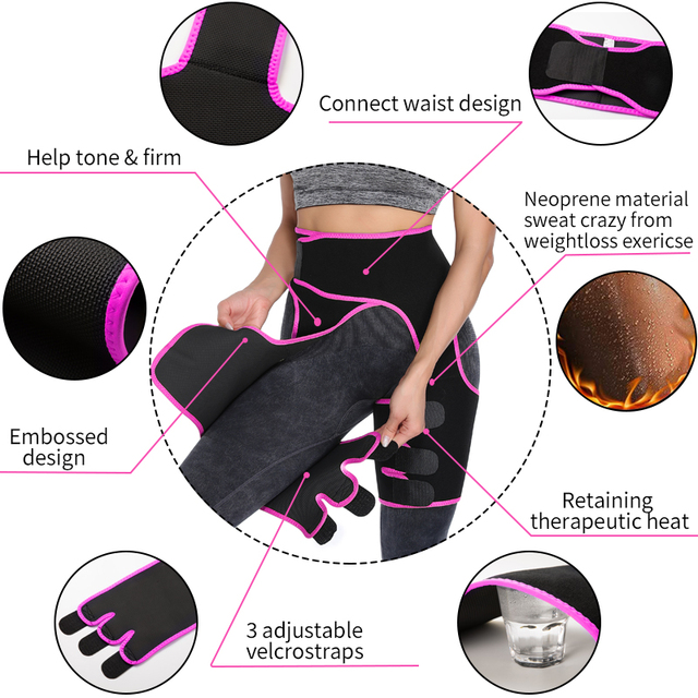 Women Neoprene Waist Trainer Sweat Shapewear Slim Belt Thigh Trimmer Leg Shapers Slender Toned Muscles Band Thigh Slimmer Wrap 3