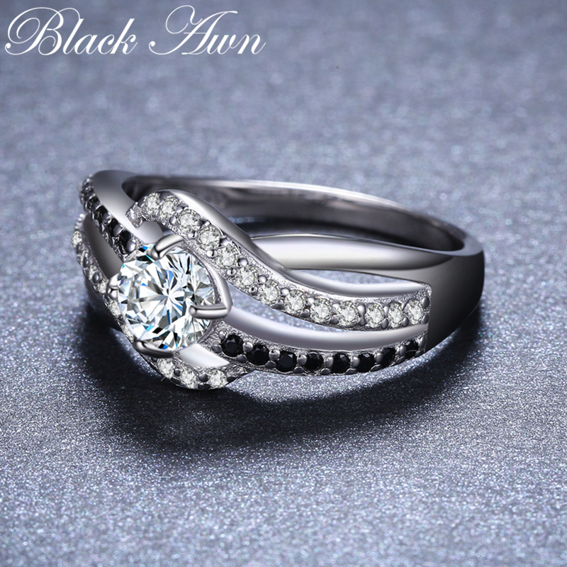 Image 3 - BLACK AWN 2019 New 925 Sterling Silver Fine Jewelry Trendy Engagement Bague Femme For Women Wedding Rings Bijoux C047Rings   -