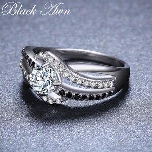 Image 3 - Bijou fin en argent Sterling 2020, auvent noir, tendance, Bague de fiançailles, anneaux de mariage pour femmes, nouvelle collection 925, C047