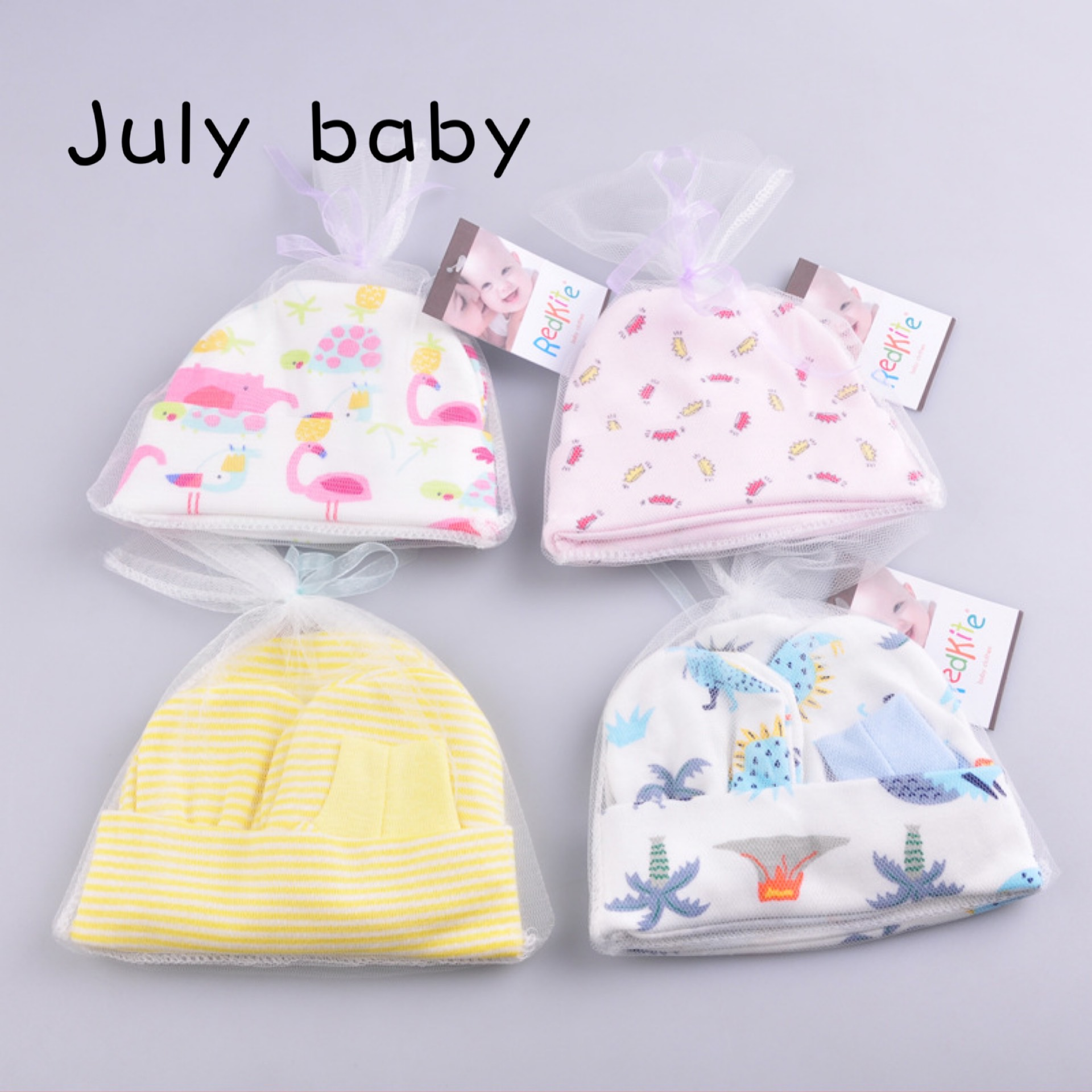 July Baby Newborn Baby Knitted Cotton Baby Hat Feet Socks Gloves Gift Box Gift Comfortable Cotton 3 Piece Set