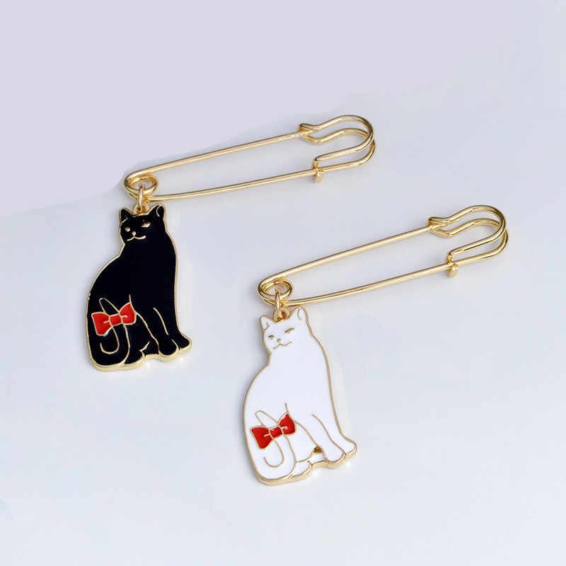 1 шт., эмалированная булавка в виде черно-белого кота из мультфильма, металлический значок, броши в виде милых животных, брошь на булавке для женщин, сумки, одежды, нагрудная булавка, ювелирное изделие