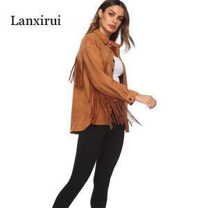 Image 4 - New Fringed long sleeve cashmere jacket spring summer women Plus Overcoat Outwear Fashion Female Warm Windproof coat